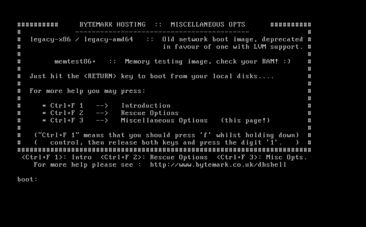 Network Boot Environment - Documentation | Bytemark